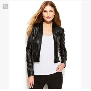 Calvin Klein Faux Leather Cropped Jacket